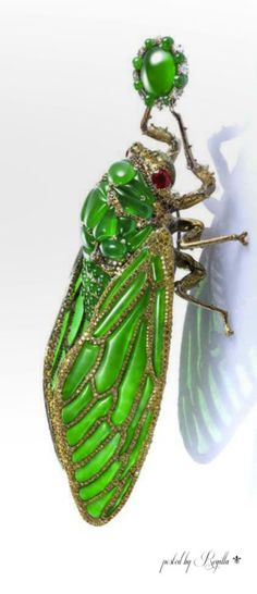 'Stilled Life on the theme of cicada and Zen,' by Wallace Chang, set with imperial jadeite, rubies and diamonds.
