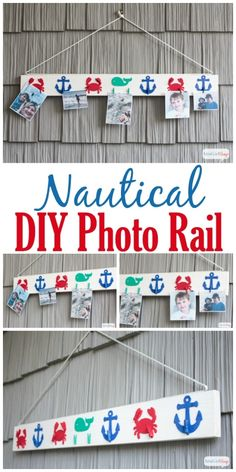 Display your favorite vacation memories on an inexpensive DIY picture rail made from a 1X4, wooden cutouts and mini clothespins. #decoartpro...