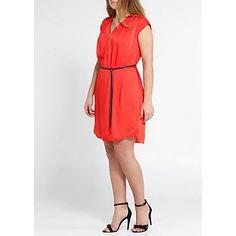 £30 Buy Violeta by Mango Zip Satin Dress, Bright Orange Online at johnlewis.com