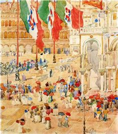 The Piazza of St. Marks, Venice - Maurice Prendergast, c.1898-9