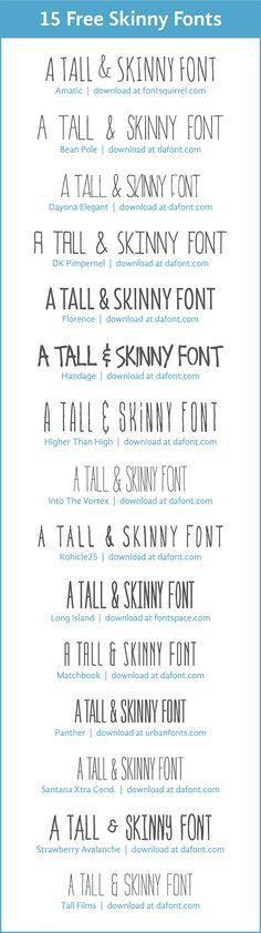 15 free skinny fonts - i like tall films Graphic Design Fonts, Web Design, Tool Design, Typography Design, Diy Tattoo, Tattoo Fonts, Tattoo Ideas, Photoshop, Tall Font
