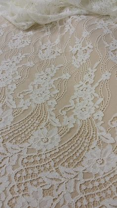 Ivory lace fabric by the yard French Lace by DelightfulWedding