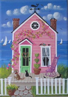 Etsy の Little Rose Cottage Folk Art Print by KimsCottageArt Cottage Art, Rose Cottage, Graffiti Kunst, Pop Art, Dance Shops, Art Fantaisiste, Art Mignon, Illustration Art, Illustrations