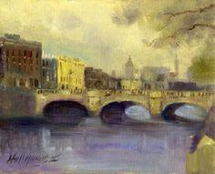 Liffey River, Dublin, Ireland 8x10 Oil on canvaspainting by artist Hall Groat II