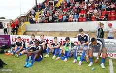 Leicester City players watch the action during the pre-season friendly between Lincoln City and Leicester City at Sincil Bank Stadium on July 21, 2015 in Lincoln, England.