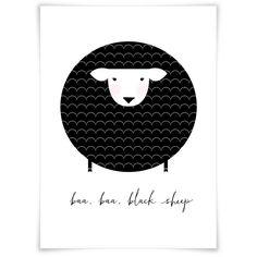 Unframed nursery print baa baa black sheep