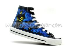 Ghostly Halloween Theme Hand Painted High-top Shoes
