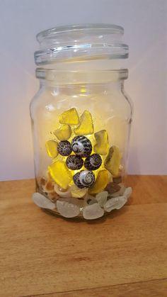 Sea glass jar with LED candle.