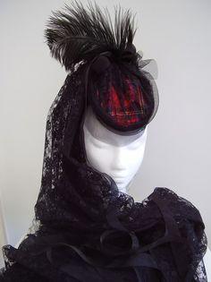 Moulin Rouge - Victorian Wedding & Burlesque headpiece & fascinator - www.victorianhatter.com Black mad hatter, Bride, ladies Victorian black hat,Edwardian vampire,Goth, emo, undertaker,  (function(d, s, id) { var js, fjs = d.getElem