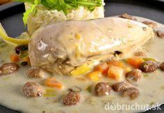 Morčacie prsia s mangovou omáčkou Chicken Recipes, Mango, Meat, Food, White Cream Sauce, Champagne, Roasts, Fish, Dishes
