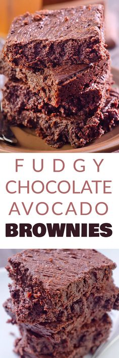 FUDGY CHOCOLATE AVOCADO BROWNIES that are made with APPLESAUCE instead of butter! These healthy version brownies are easy to make in a pan and can easily be turned vegan! They are flourless and delicious - my entire family (even the kids! Healthy Dessert Recipes, Easy Desserts, Delicious Desserts, Delicious Cookies, Healthy Meals, Healthy Eating, Chocolate Peanut Butter Brownies, Chocolate Desserts, Healthy Brownies