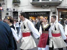 Folk dancers at pedestrian street