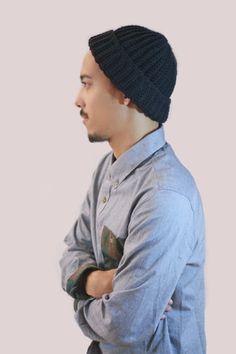 Classic Black Folded up or down hat unisex. Crochet Men's Men's fashion, Men's hat