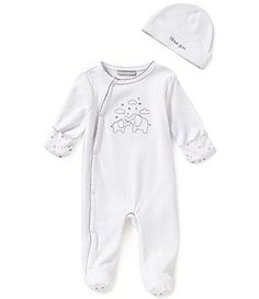 Wendy Bellissimo 3-9 Months Elephant-Print Footed Coverall & Hat Set