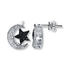 You'll be over the moon for these celestial earrings featuring a black diamond star and twinkling half-moon.