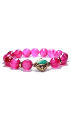 Pink Agate with Turquoise Bracelet by Devoted