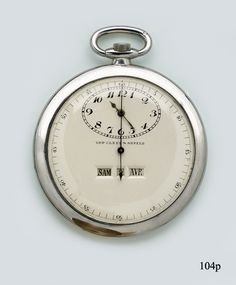 Van Cleef & Arpels ~ Rare platinum pocket watch with in line window and digital complete calendar with sweep seconds hand.