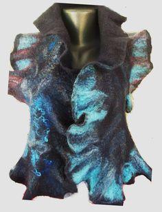 Blanket wrap in Dark blue Warm coat from Merino by FeltWorld51