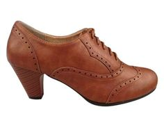 NEW-Women-Vintage-Oxford-Faux-Leather-Retro-Lace-Up-Stacked-High-Heel-Shoe