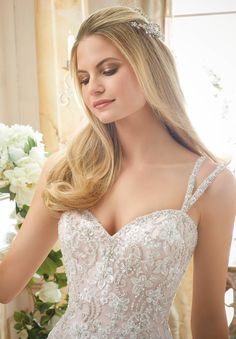 Wedding Dress 2881 Elaborately Beaded Embroidery on Soft Tulle Ball Gown
