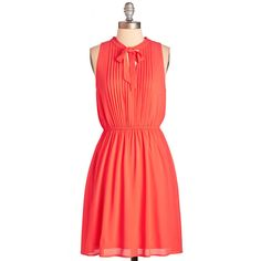 Mid-length Sleeveless A-line Anything Keen Happen Dress by ModCloth (675 MXN) ❤ liked on Polyvore featuring dresses, apparel, coral, fashion dress, sleeveless a line dress, pintucked dress, a line dress, coral dress and a line silhouette dress