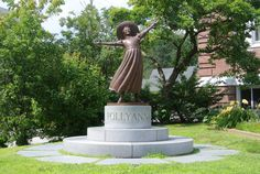 Pollyanna outside the public library in Littleton NH, birthplace of author Eleanor H Porter.
