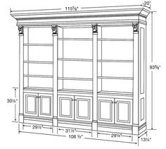The Amish Serenity Triple Bookcase Library with Beaded Back is a large bookcase that will really look sharp in an executive office. Customize this bookcase to f Bookcase Plans, Large Bookcase, Bookshelves Built In, Built Ins, Bookcase Shelves, Bookcases, Woodworking Projects Diy, Woodworking Furniture, Woodworking Plans