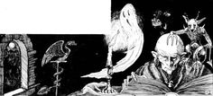 A creeypy caster studying his spell book, with a pet lizard, quasit, pseudodragon, slavering demonic beast, spying winged demon, and a friendly ghost. (David Sutherland, from AD&D Players Handbook, TSR, 1978.)