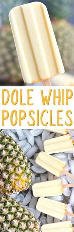 like disney on a stick! Dole Whip Creamy Pineapple Popsicles Recipe like disney on a stick! Trifle Desserts, Mini Desserts, Frozen Desserts, Frozen Treats, Delicious Desserts, Yummy Food, Party Desserts, Weight Watcher Desserts, Pineapple Popsicles