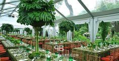 Central Park Tropical Green Theme Fundraiser Event - centerpiece, long table, non-profit gala, seating, table setting, tall centerpiece, ten...