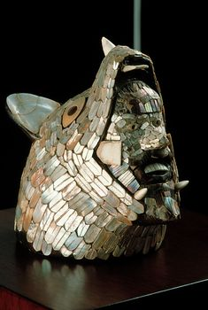 Toltec sculpture of warrior springing from the Coyote. Mexico. Hidalgo 900-1250 A.D.