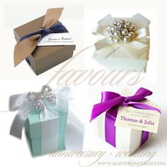 Beautiful and Glamorous Custom Favor Boxes for Weddings and Special Occasions. Featuring keepsake favors with crystal brooches for your guests to cherish.