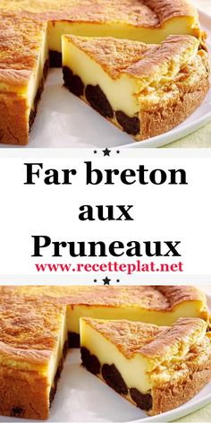 Far Breton with Prunes - Dessert Recipes Healthy Banana Recipes, Banana Dessert Recipes, Easy Cake Recipes, Lemon Desserts, German Torte Recipe, Strawberry Torte Recipe, Chocolate Fruit Cake, French Desserts, French Recipes