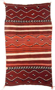 A NAVAJO CHILD'S BLANKET c. 1875 woven of native handspun wool in natural ivory, brown and indigo blue, - Available at 2011 September Dallas Signature. Native American Blanket, Native American Rugs, Native American Beauty, Native American Artifacts, American Indian Art, Native American Indians, Navajo Weaving, Navajo Rugs, Native Design