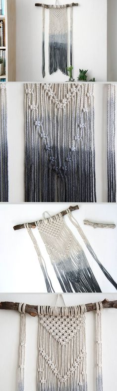 macrame wall hanging can hang & decor your walls and give your home awarm feeling. this macrame wall art is made of natural cotton cord,natural wood and hand dyed cotton cord in dark gray. this modern macrame gives your room warm feeling, you can hang it in your badroom,living room or any other room.  ^^^^^^^^  Wooden dowel length- 50cm (20 inches ) Macrame width-38 cm ( 15 inches ) Macrame length- 70cm ( 27 inches)  ^^^^^^^^ You want it bigger? smaller? other color? Because the macrame w...