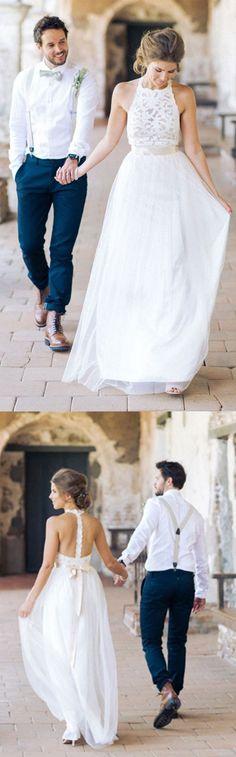 Simple Jewel Wedding Dresses, Sleeveless Long Wedding Dress, Lace Top Wedding Dress, White Tulle Wedding Dress, A-line Wedding Dress, Chic Garden Wedding Dress, Wedding Dress