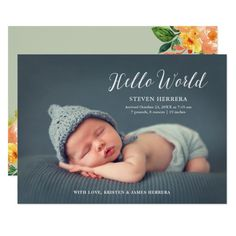 Hello World Overlay With Floral Decor Baby Birth Invitation