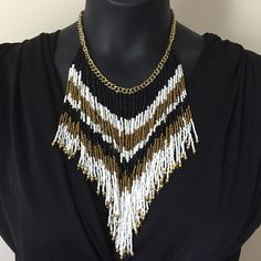 """Tassels Necklace Black white and bronze gold tassel necklace on a chain. 3""""L extender chain for ease of styling. Jewelry Necklaces"""