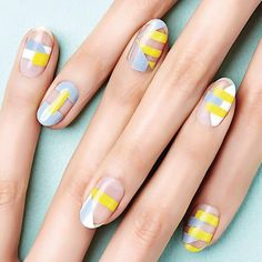 nails : graphic / geometric stripes / striping tape nailart in blue, white, yellow + negative-space Crazy Nails, Fancy Nails, Trendy Nails, Minimalist Nails, Nailart, Negative Space Nails, Gel Nagel Design, Yellow Nails, Nagel Gel