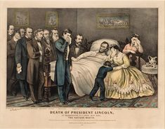 Death of President Lincoln by Currier & Ives, 1865. People in room: 12 (Tad was never actually there).