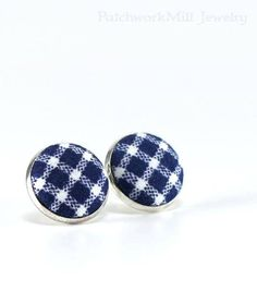 Blue Stud Earrings, White Checks Earring Studs, Navy Blue Fabric Button Jewelry, Elegant Earring Posts, Button Earring, Silver Toned Jewelry #earrings #fabric #jewelry #retro #quilter #gifts
