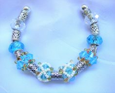 Aqua Beige and Silver Beaded Cuff Bracelet/ by LittleGemsandMore, $40.00