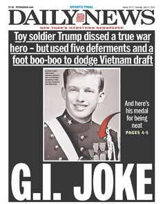 Daily News goes nuclear on Donald Trump, says he used 'a foot boo-boo to dodge Vietnam' - Yahoo Finance