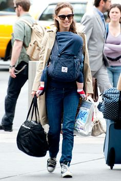 Natalie Portman spotted wearing the ERGObaby Organic Baby Carrier--Twill Navy w/Midnight Lining.  April 18, 2012