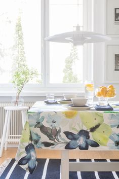 Kesäniitty Tablecloth   Pentik Summer 2018   Designed by Lasse Kovanen, Kesäniitty (Summer Meadow) pattern charms with wild meadow flowers and butterflies. Its fresh colours and light watercolour-like look bring plenty of beauty to your summer home.