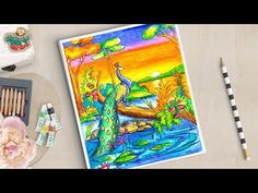 Peacock Drawing   how to draw a peacock   How To Draw a peacock Scenery - YouTube Scenery Drawing For Kids, Art Drawings For Kids, Painting For Kids, Cute Drawings, Art For Kids, Oil Pastel Colours, Oil Pastel Art, Oil Pastel Drawings, Oil Pastels