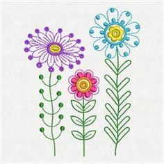 Fancy Flowers machine embroidery design.