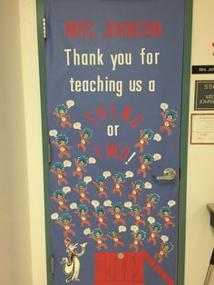 Dr Seuss Thing one and two Classroom Door decoration for teacher appreciation week Source by amywhil Teachers Week, Student Teacher Gifts, Teacher Door Decorations, Teacher Birthday, Birthday Gifts, Teacher Doors, Teacher Appreciation Week, Classroom Door, Room Mom