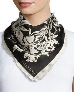 Exotic Garland Silk Evening Scarf, Black Valentino