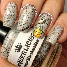 Fall Is In The Air - Burnt Marshmallow - White Jelly Shimmer Glitter Custom Handmade Indie Nail Polish by lacquerlicious